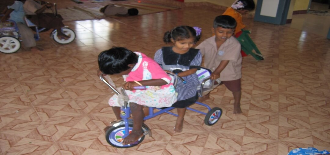 Children enjoy cycling at TNVT Child Development Centre