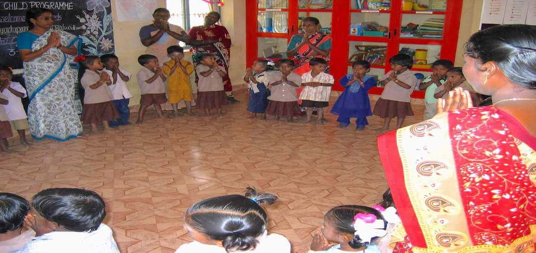 Welcome prayer for children at TNVT Child Development Centre